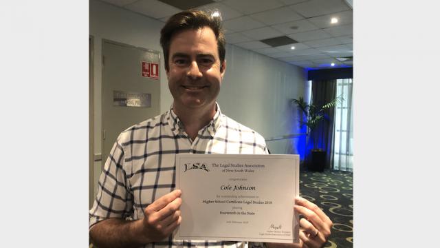Legal Studies Association congratulates Cole Johnson